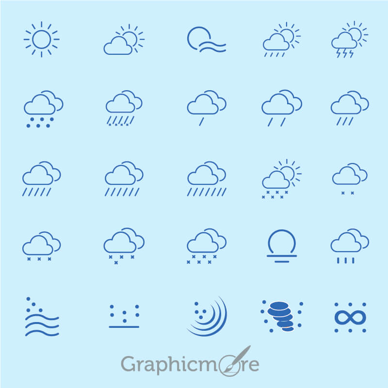 20 Kind Weather Outline Icons Collection