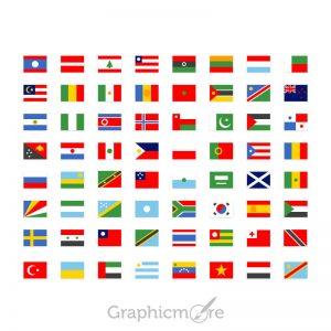 64 Simple National Flag Icons Set Design Free PSD File