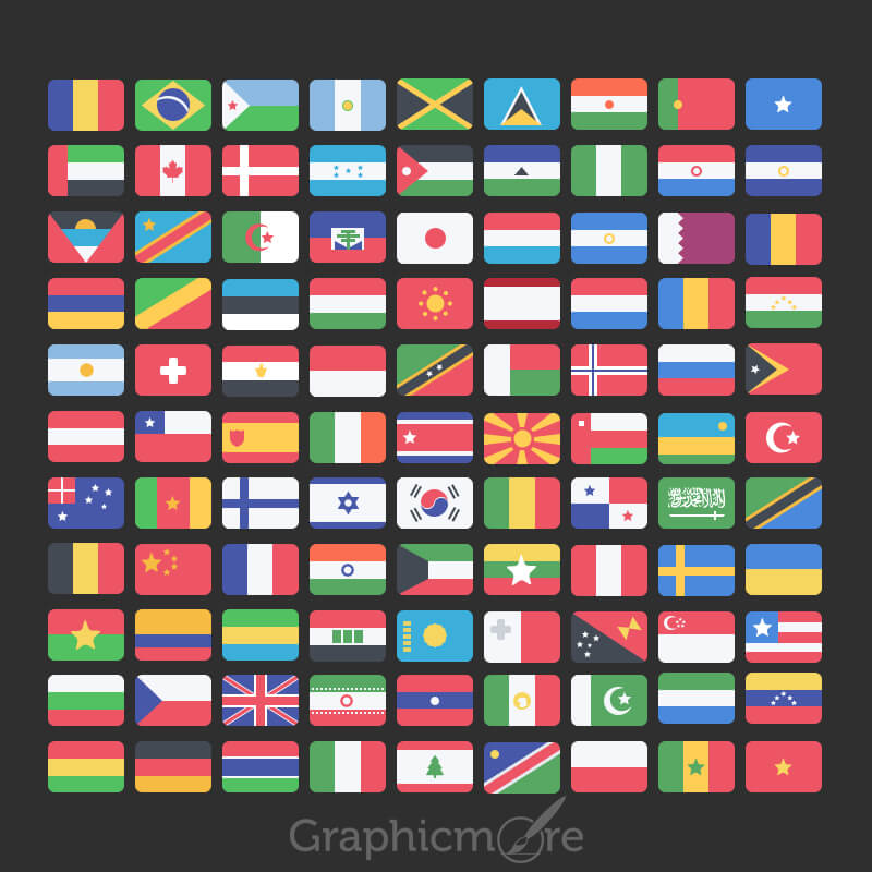 99 National Flag Icons Set Design Free PSD File
