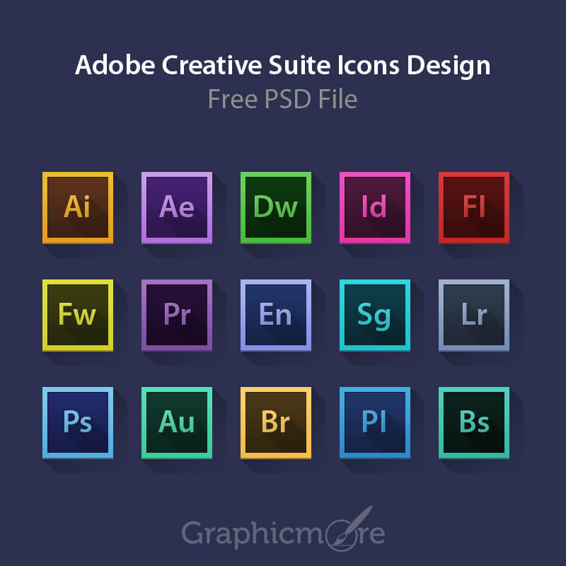 Adobe Creative Suite Icons Design Free PSD File