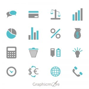 Business and Financial Icon Set Free Vector File