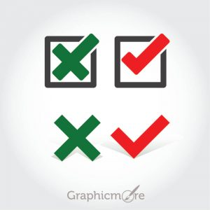 Check and Cancel Buttons Set Free Vector File by GraphicMore