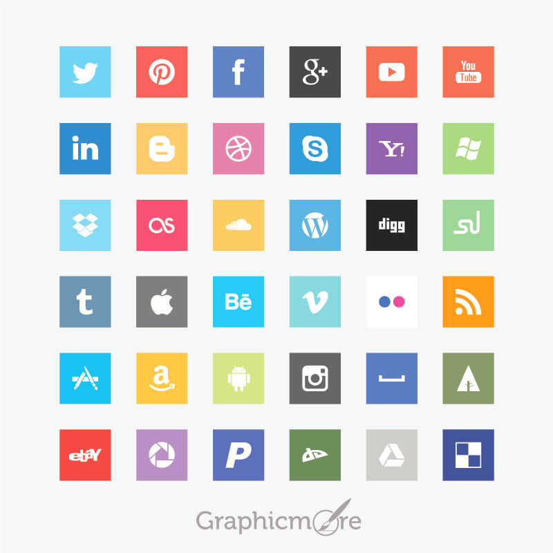 Flat Social Media Square Icons Design Free Vector File