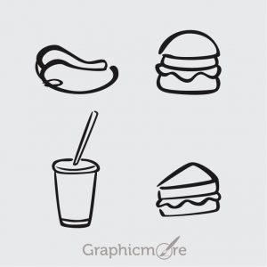 Food Black Outline Icons Set Free Vector File