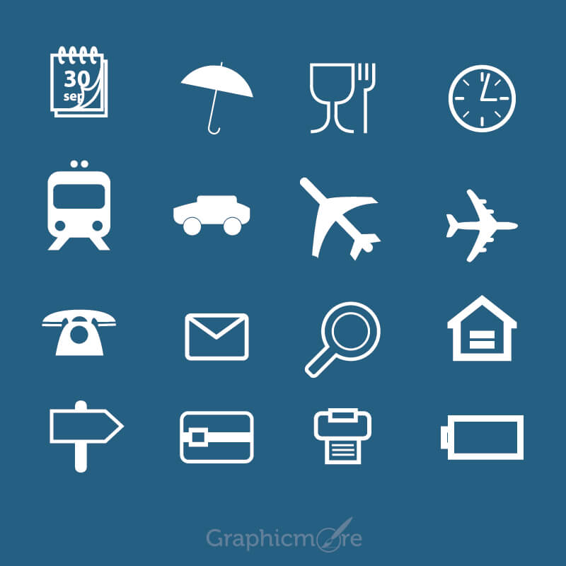 Free Vector Travel Icons Set Design
