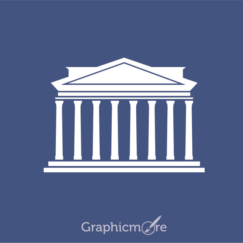 Greek Architecture Icon Symbol Design Free Vector