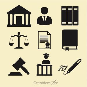 Law Icons Set Free Vector File by GraphicMore