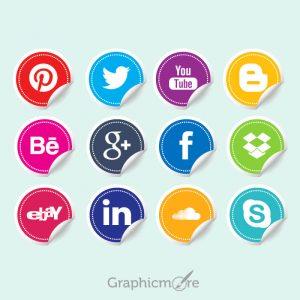 Social Media Icon Stickers Free Vector File