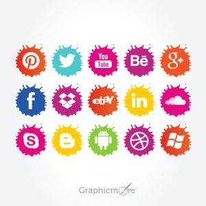 Social Media Paint Splatter Icons Set Free Vector File