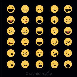 Top 30 Funny Emoticons Icons Vector Set Design