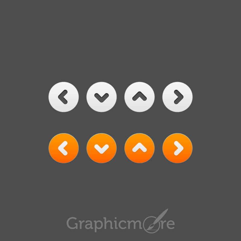 White and Orange Button Free PSD File