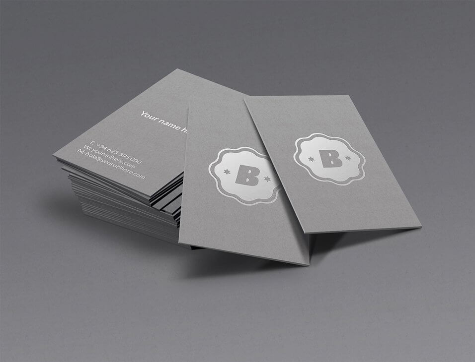 Silver Business Card Mock Up