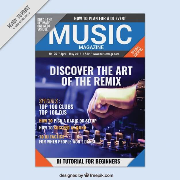 Music magazine with a picture cover