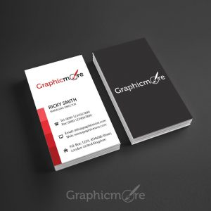 Red Lines Vertical Business Card Template