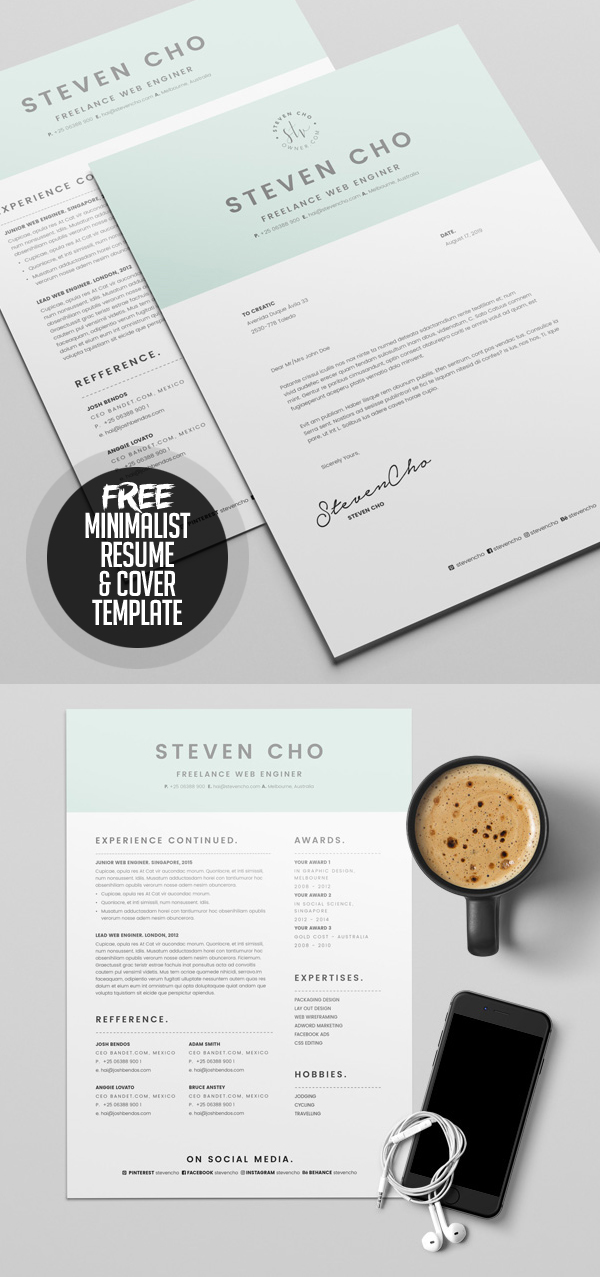 Free Minimalist Resume Template and Cover Letter