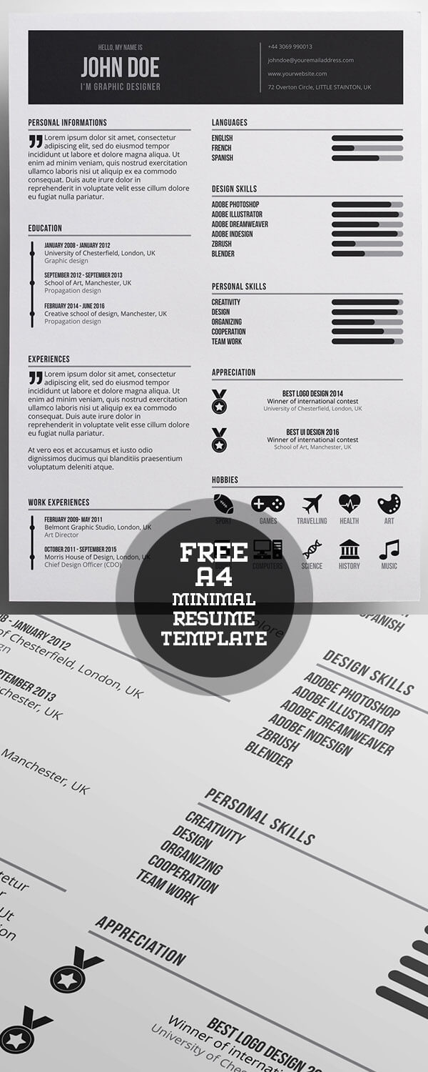 Free Minimal A4 Resume Template