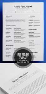 Free Resume Template available in Doc, PSD, AI & PDF