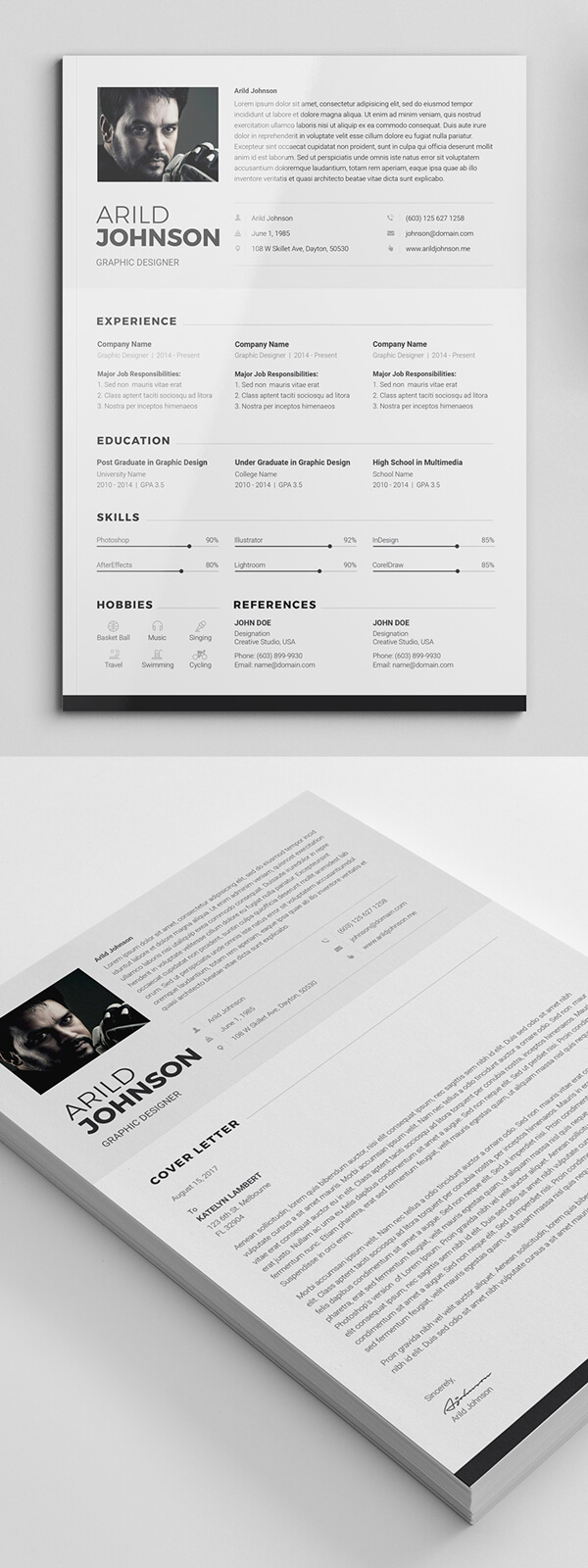 6. Creative Simple Resume Template & Cover Letter