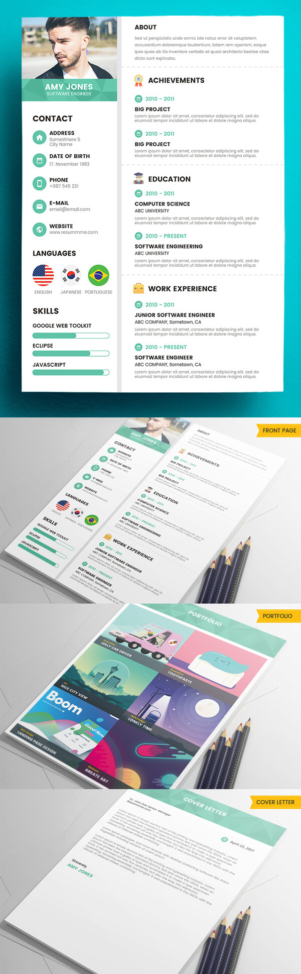 Corporate 3 Pages Free Resume Template